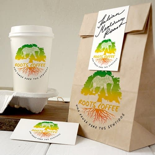 Diseño de logotipo para empresa Roots Coffee